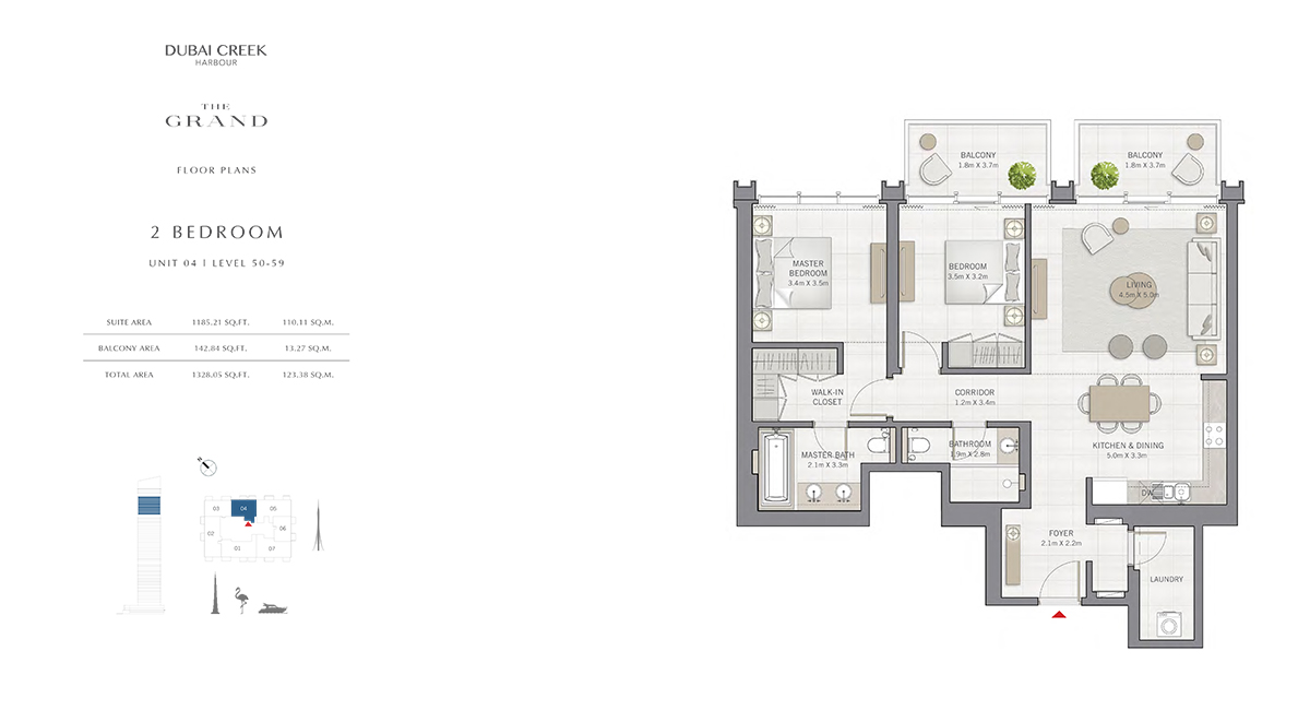 2 Bedroom Size 1328.05 sq.ft