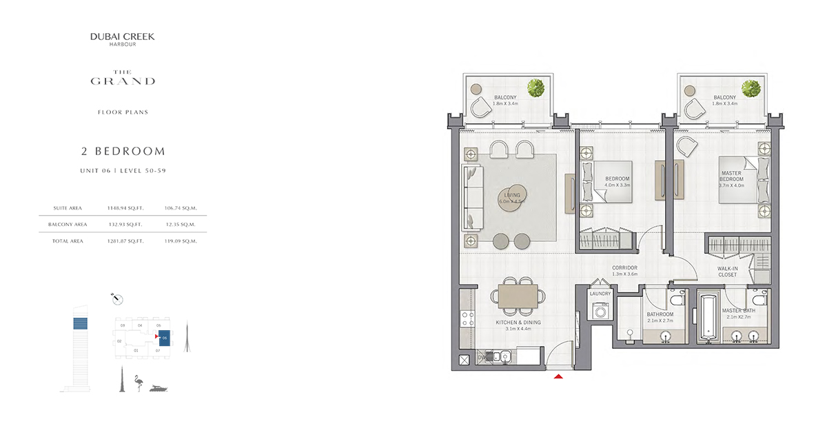 2 Bedroom Size 1281.87 sq.ft