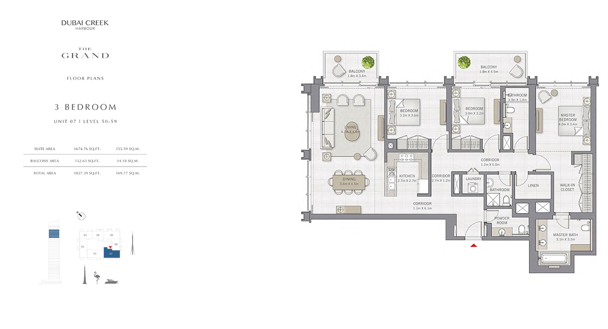 3 Bedroom Size 1827.39 sq.ft