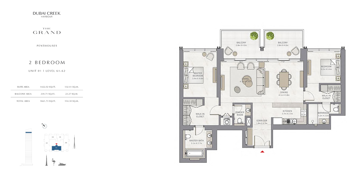 2 Bedroom Size 1661.73 sq.ft