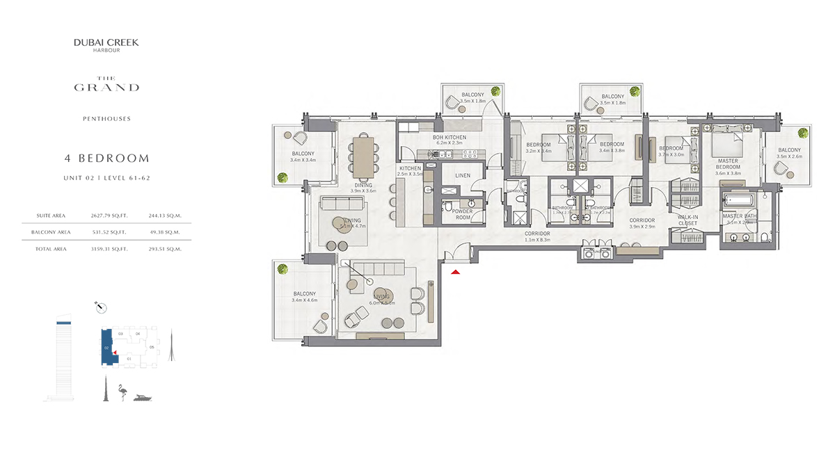 4 Bedroom Size 3159.31 sq.ft