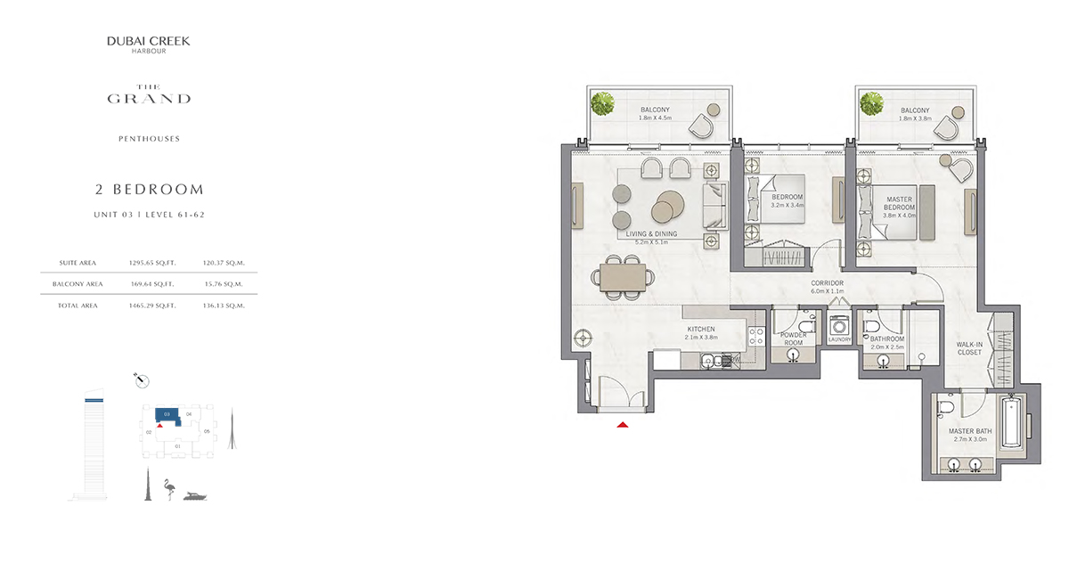2 Bedroom Size 1465.29 sq.ft
