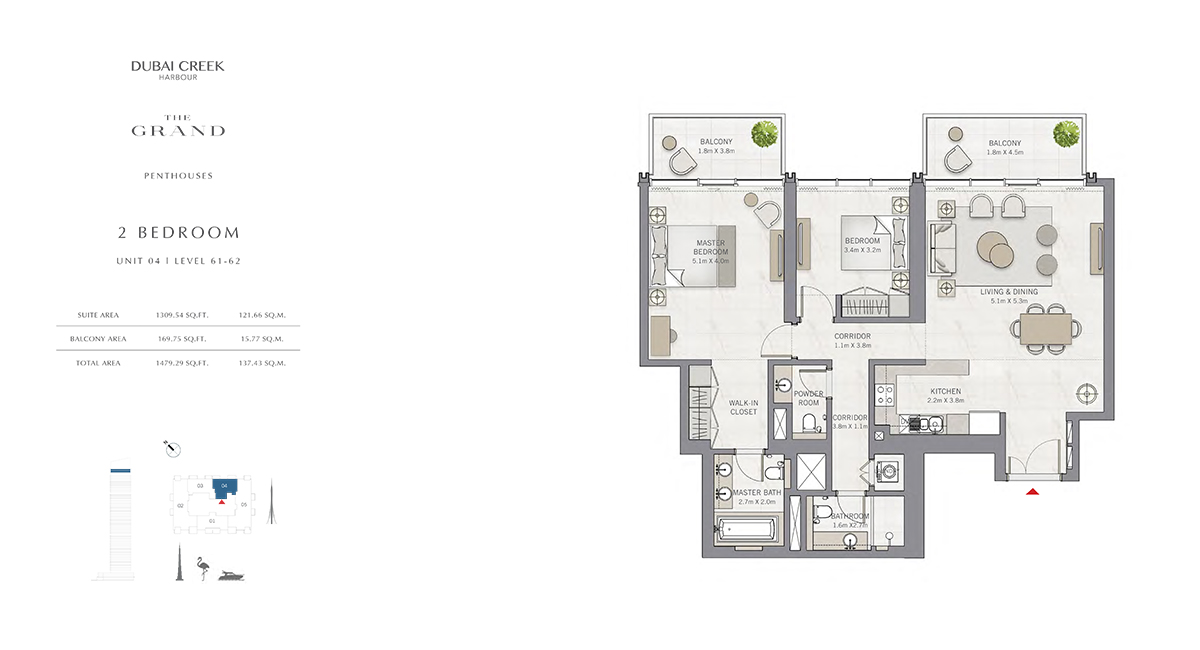 2 Bedroom Size 1479.29 sq.ft