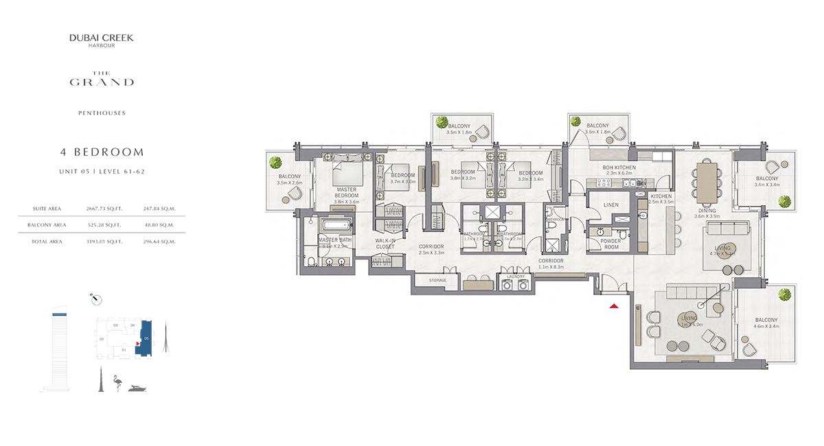 4 Bedroom Size 3193.01 sq.ft
