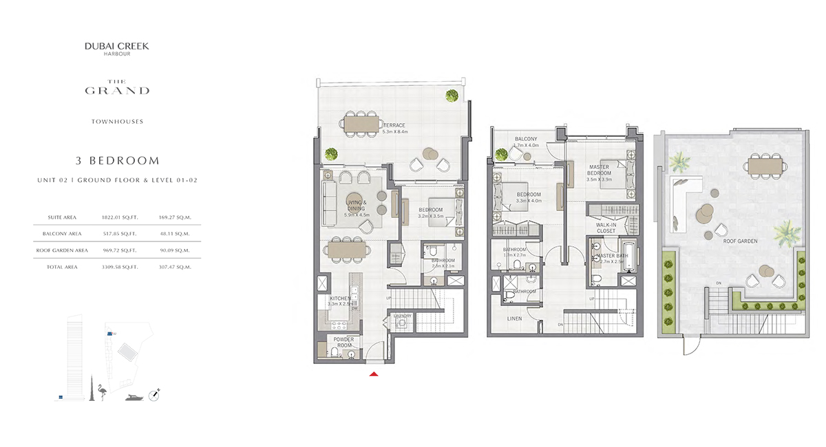 3 Bedroom Size 3309.58 sq.ft