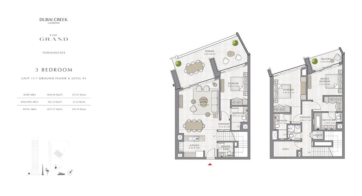 3 Bedroom Size 2075.17 sq.ft