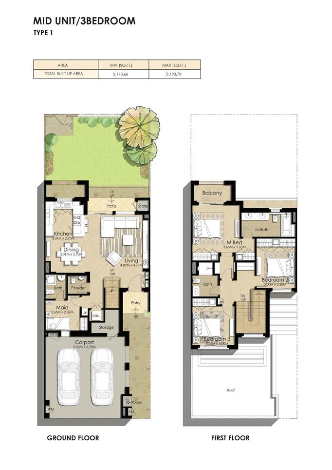 3 Bedroom Type 1, Size 2193.79 sq ft