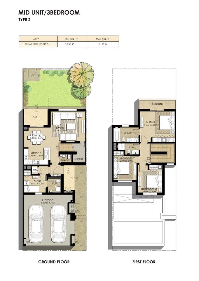 3 Bedroom Type 2, Size 2153.64 sq ft
