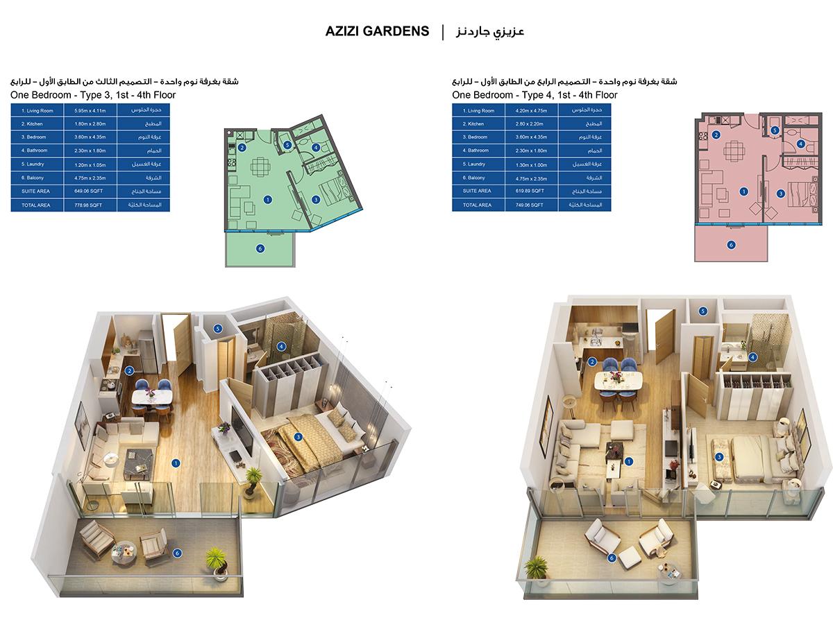 1-Bedroom-Type 3-4, 1-4-Floors