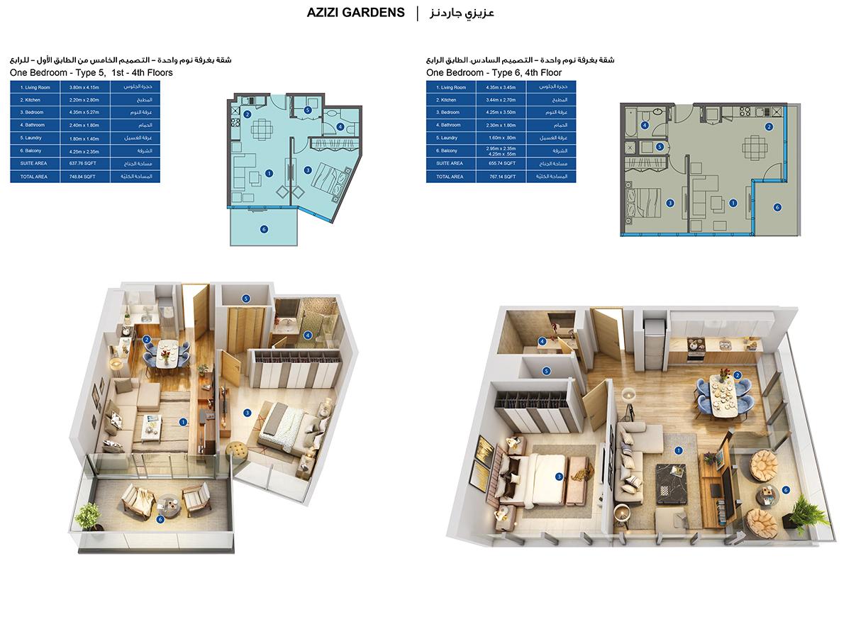 1-Bedroom-Type 5-6, 1-4-Floors