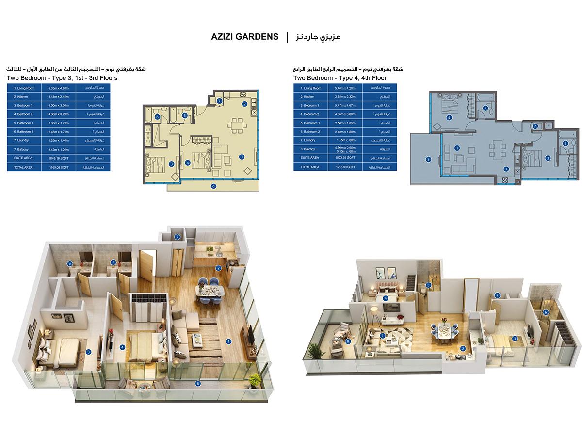 2-Bedroom-Type 3-4, 1-4-Floors