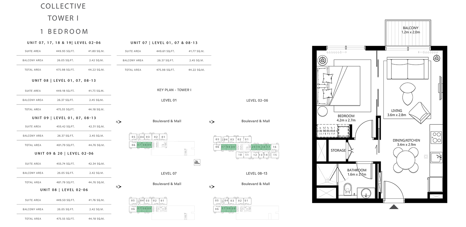 Tower 1 - 1 Bedroom Size 475.55 To 481.79 sq.ft