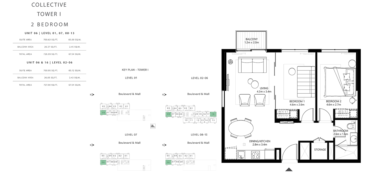 Tower 1 - 2 Bedroom , Size 726.99 To 727.00 sq.ft