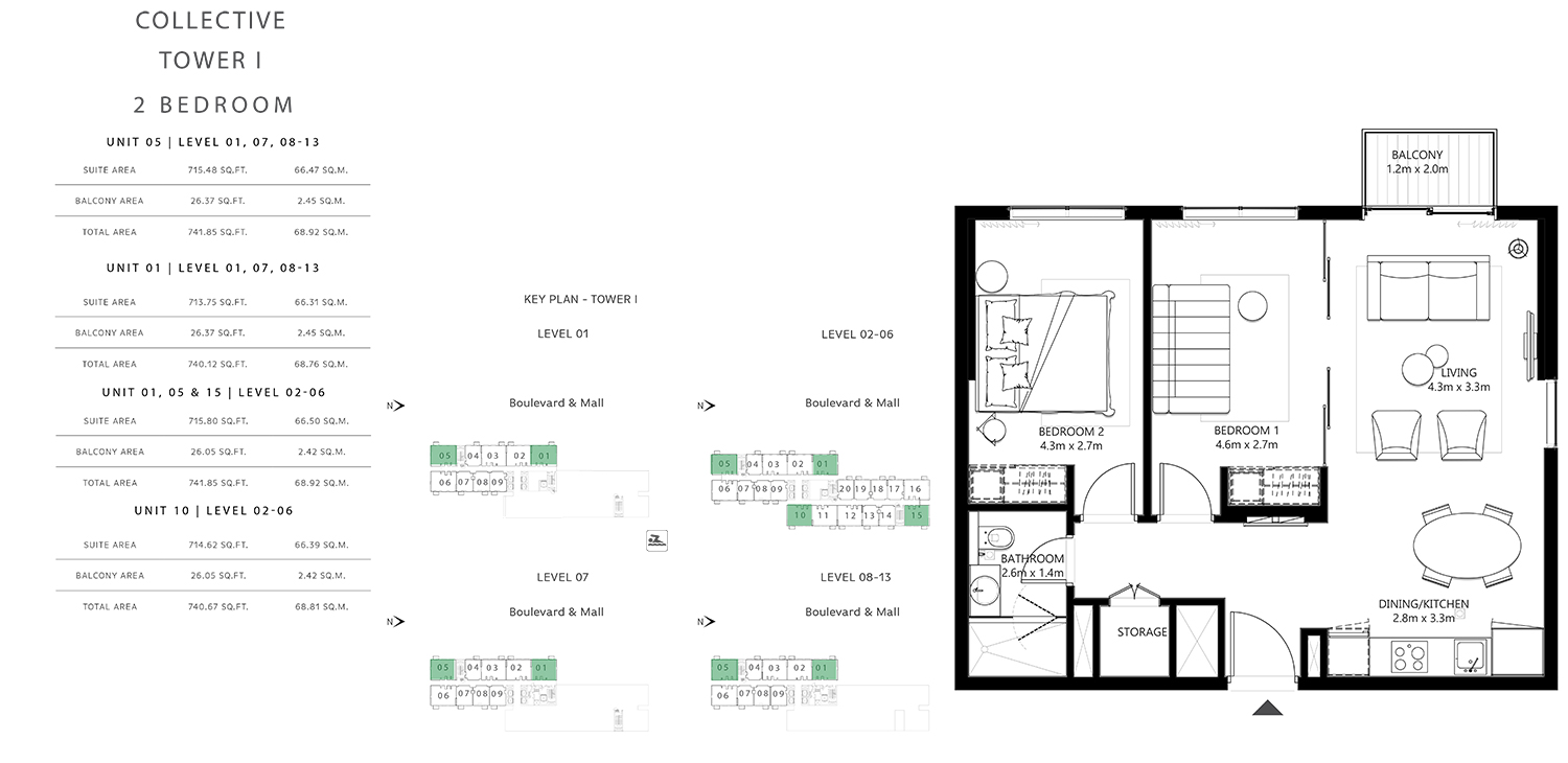 Tower 1 - 2 Bedroom Size 740.12 To 741.85 sq.ft