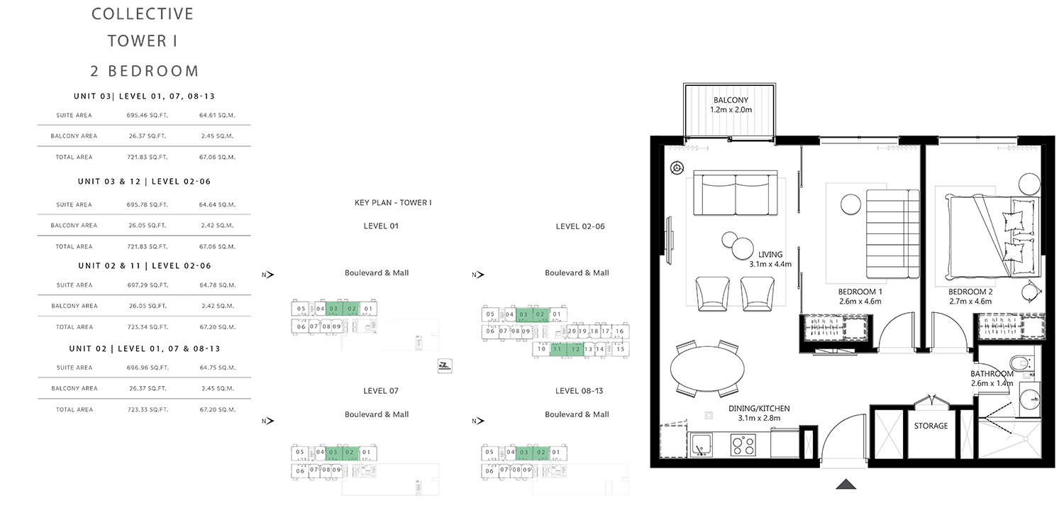 Tower 1 - 2 Bedroom, Size 713 To 741 sq.ft