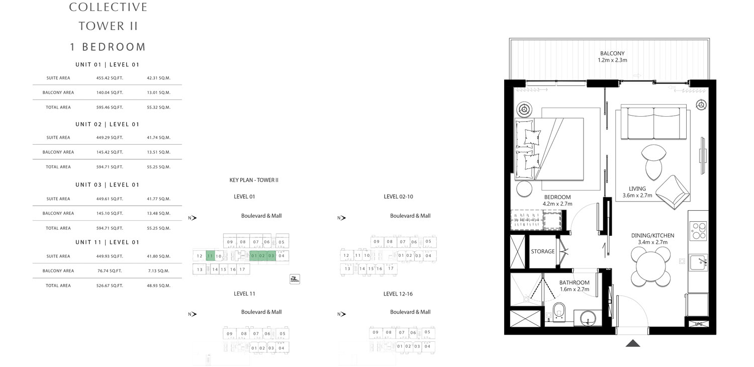 Tower 2 - 1 Bedroom Unit 1 Level 1, Size 526.67 To 595.46 sq.ft