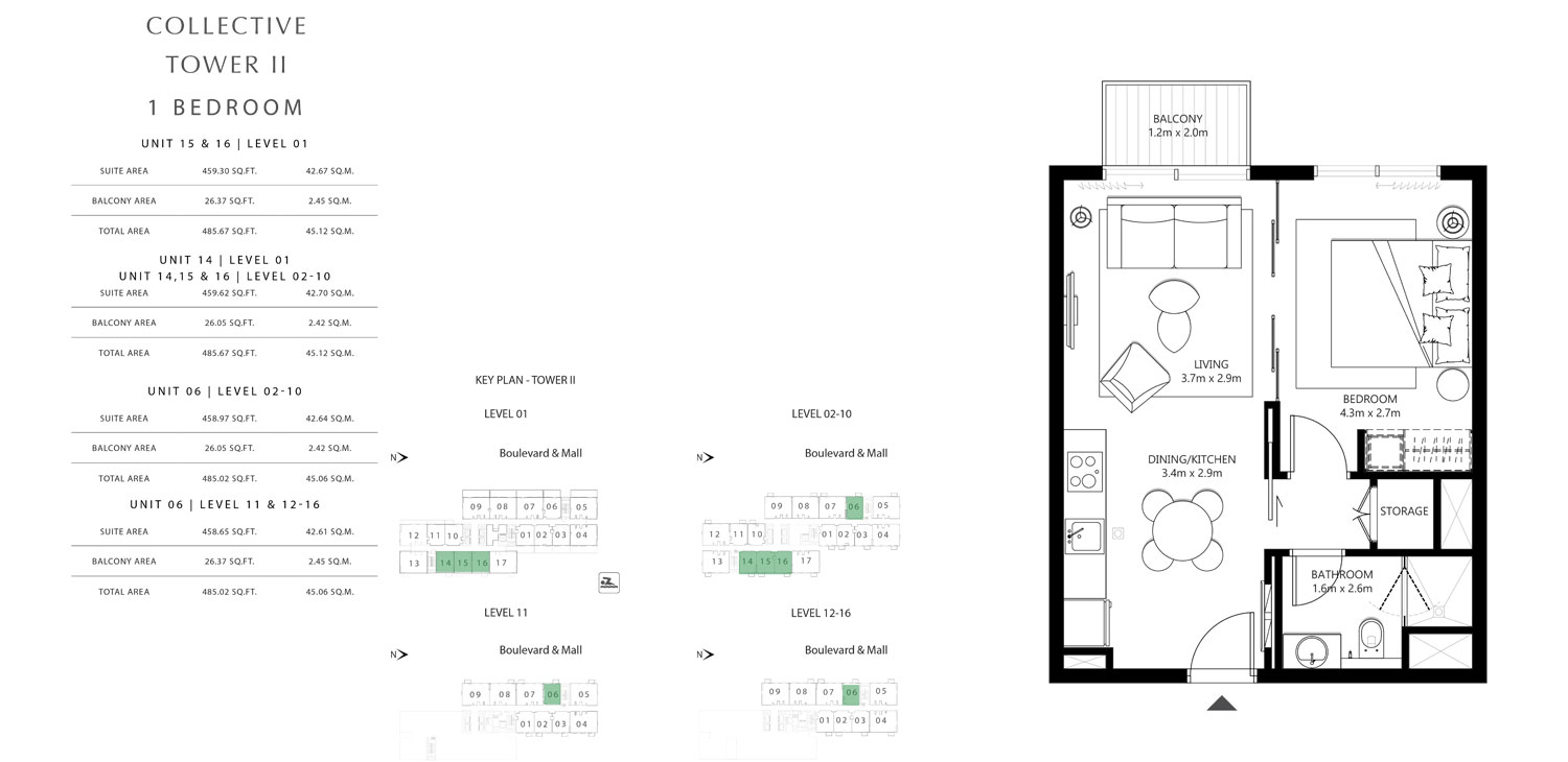 Tower 2 - 1 Bedroom Unit 15 & 16 Level 1, Size 485.02 To 485.67 sq.ft
