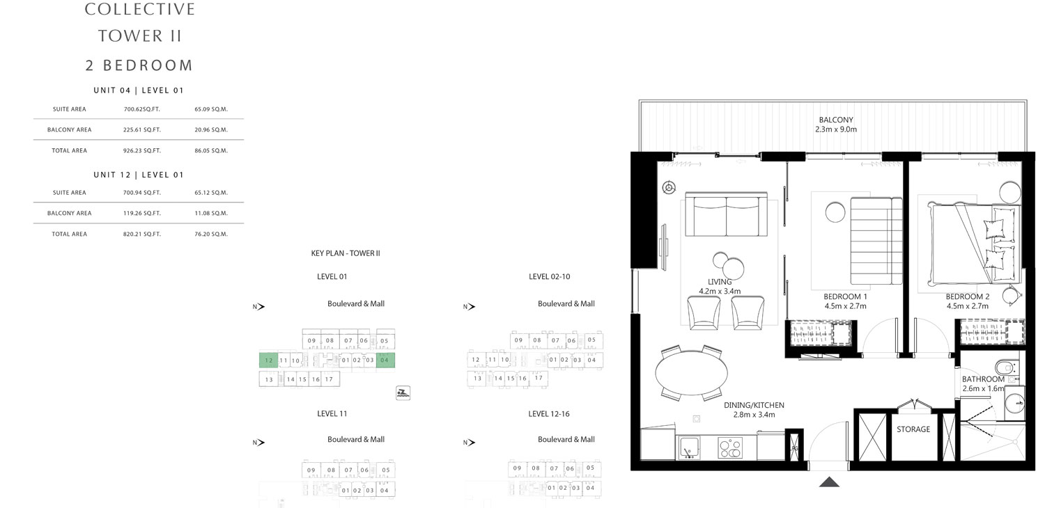 Tower 2 - 2 Bedroom Unit 04 Level 01 Size 820.21 To 926.23 sq.ft