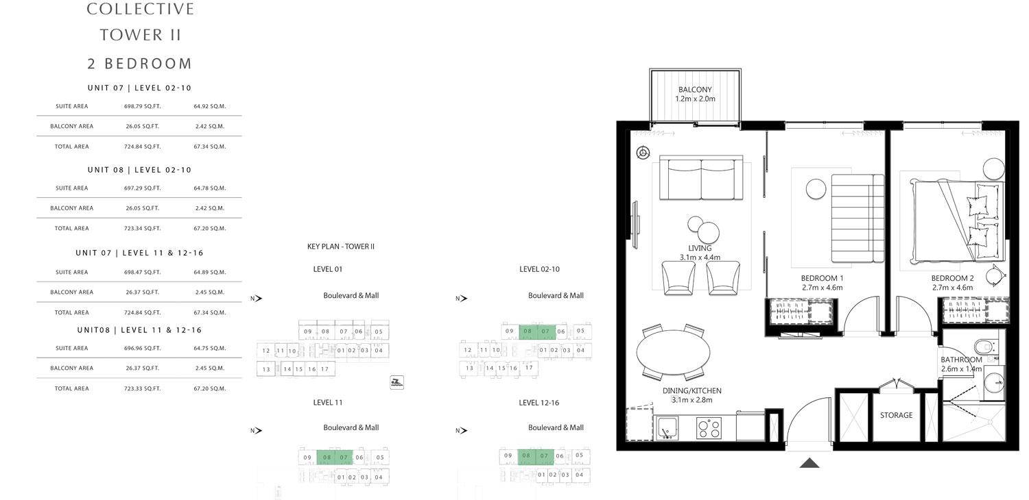 Tower 2 - 2 Bedroom Unit 7 Level 02-10, Size 723.34 To 724.84 sq.ft