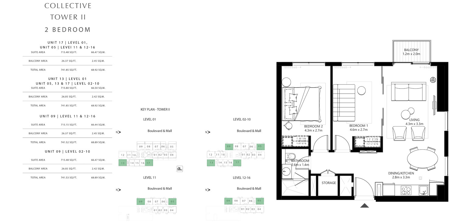 Tower 2 - 2 Bedroom Unit 17 Level 01, UNIT 05 Level 11 & 12-16 Size 741.52 To 741.85 sq.ft