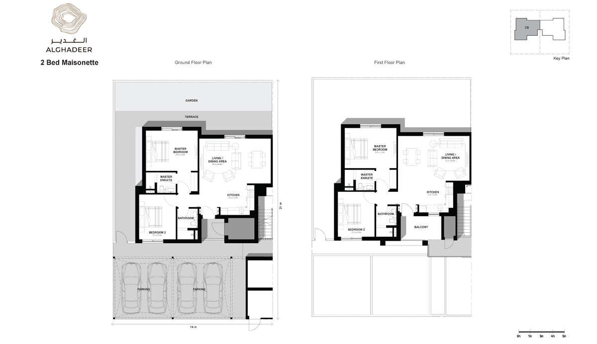 2 Bed - Maisonette, Sizes: GF-85 sqm & FF-96 sqm