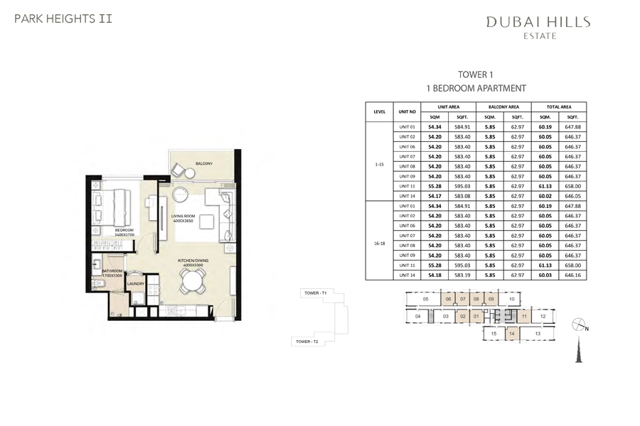 Tower 1, 1 Bedroom, Size 646 Sq Ft