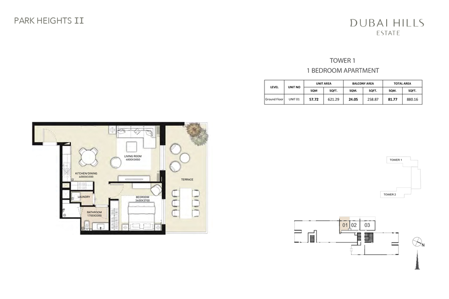 Tower 1, 1 Bedroom, Unit 01, Size 880 Sq Ft