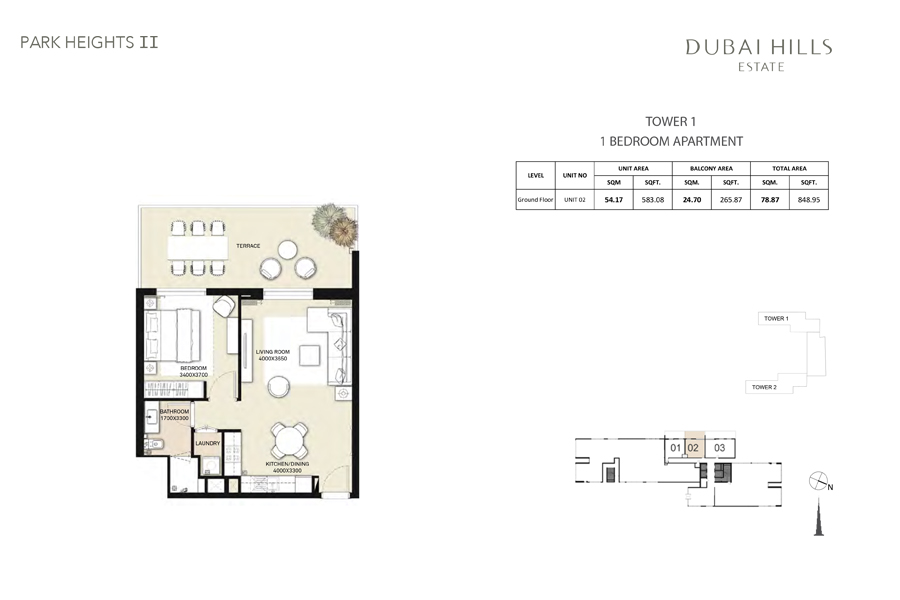 Tower 1, 1 Bedroom, Unit 02, Size 848 Sq Ft