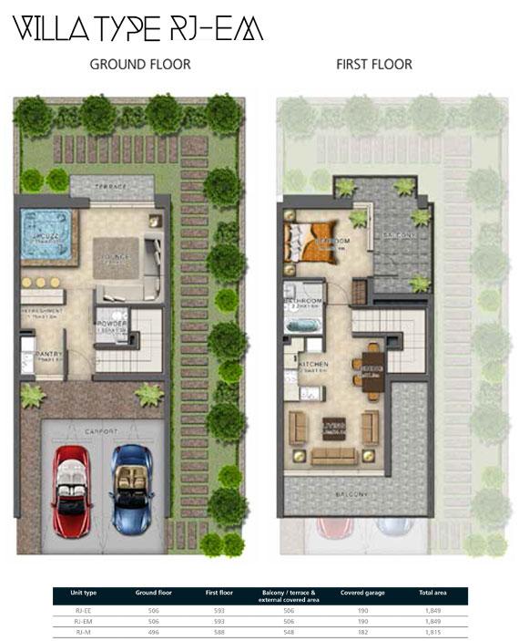 RJ-EM Villas Size 1849 sq ft