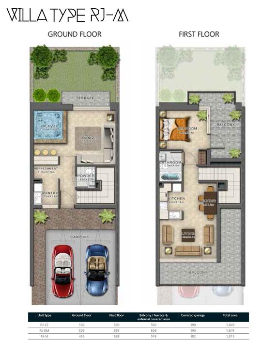 RJ-M Villas Size 1815 sq ft