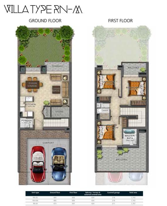 RN-M Villas Size 1707 sq ft