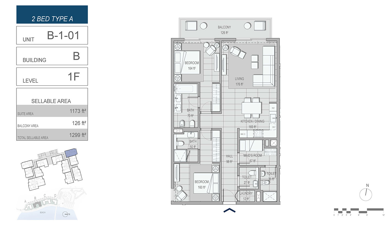 2 Bedroom Type A, Unit B-1-01, Building-B, Level 1F, Size 1299 sq.ft.