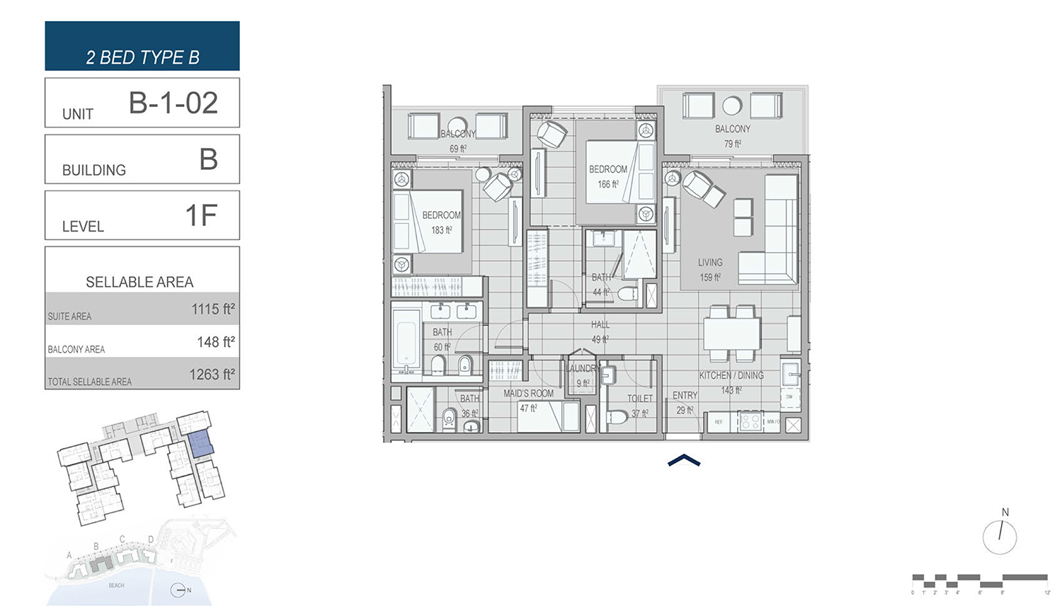 2 Bedroom Type B, Unit B-1-02, Building-B, Level 1F, Size 1263 sq.ft.