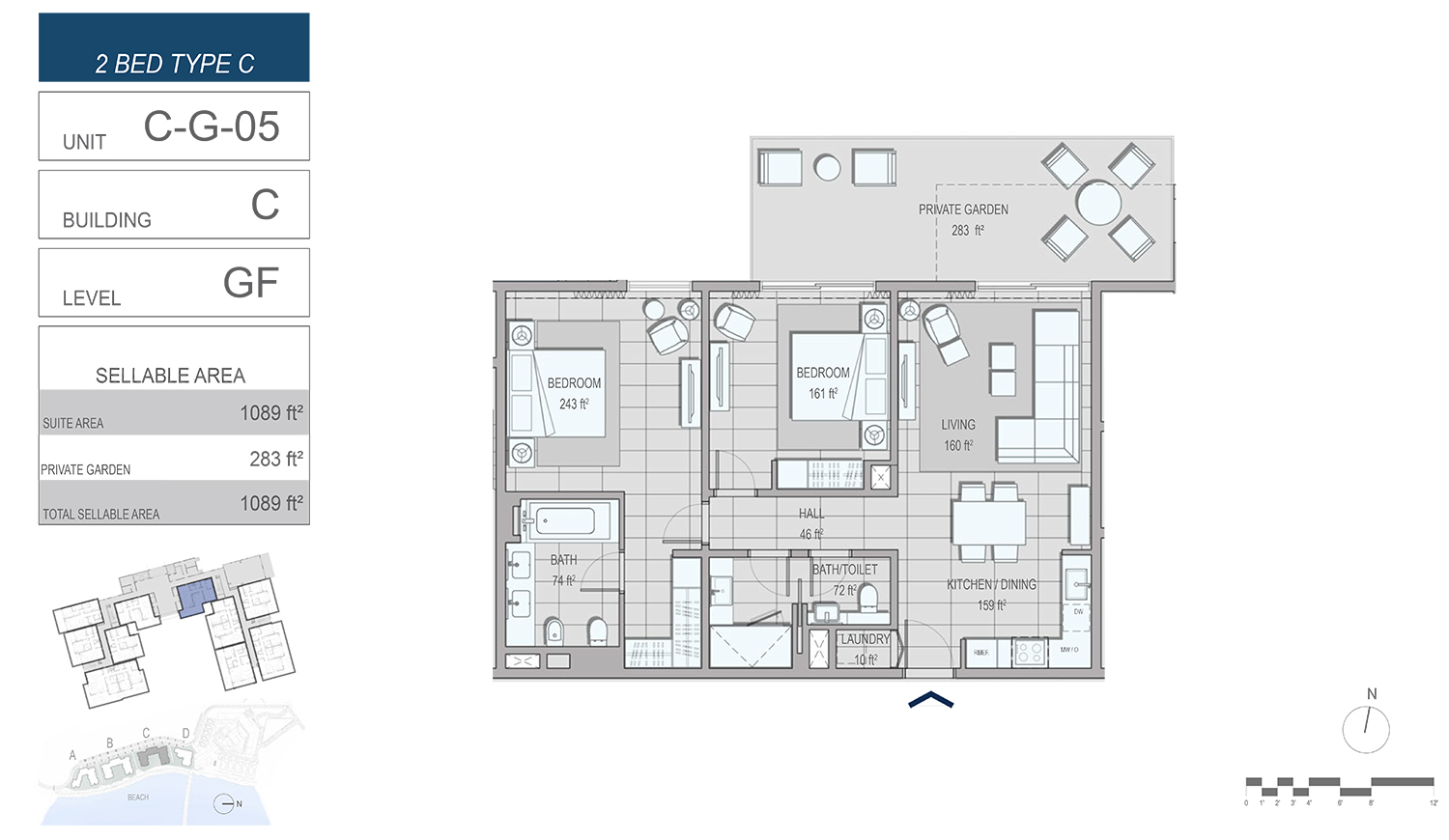 2 Bedroom Type C , Unit C-G-05, Building-C, Level GF, Size 1089 sq.ft.