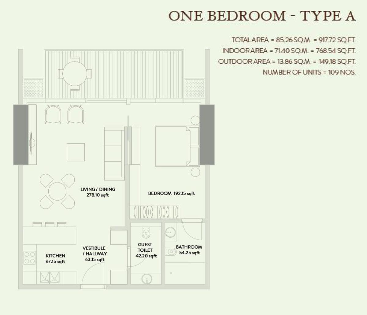 1 Bedroom  Type A Size 917.72 sqft
