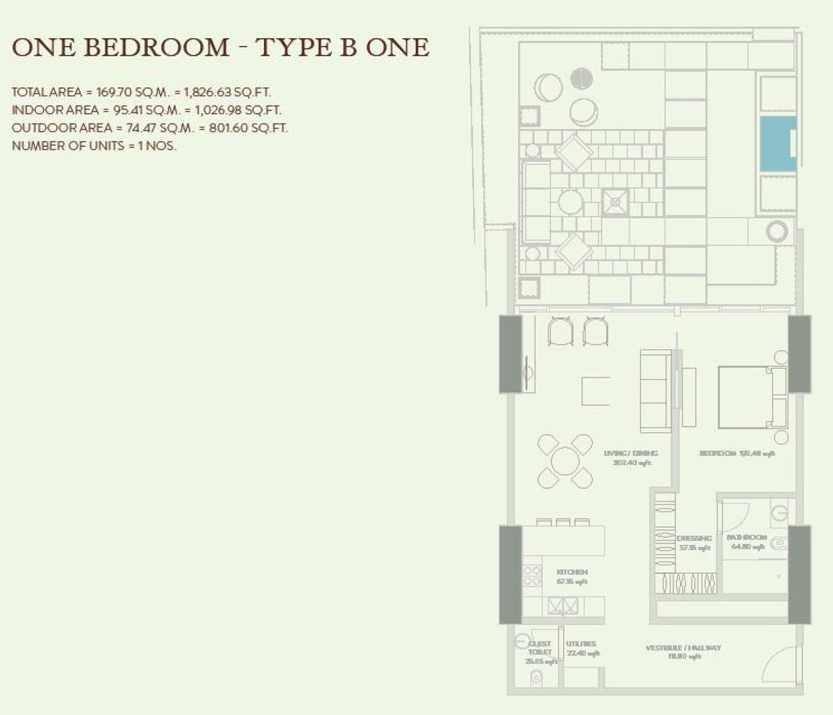 1 Bedroom  Type B 1 Size 1826.63 sq.ft