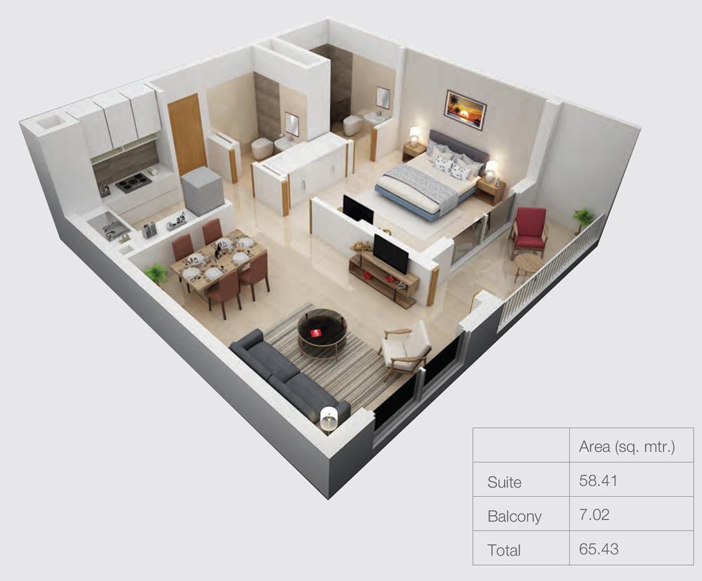 1 Bedroom - Size 65.43 sqm.