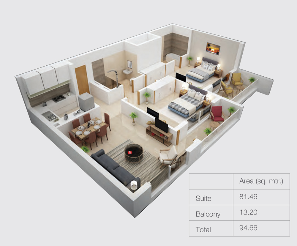 2 Bedroom - Size 94.66 sqm.