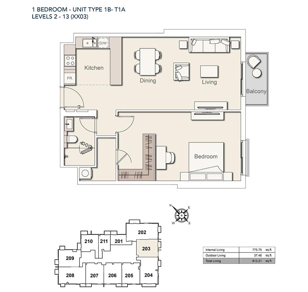 1 Bed - TY-1B-T1A-813.21-sqft