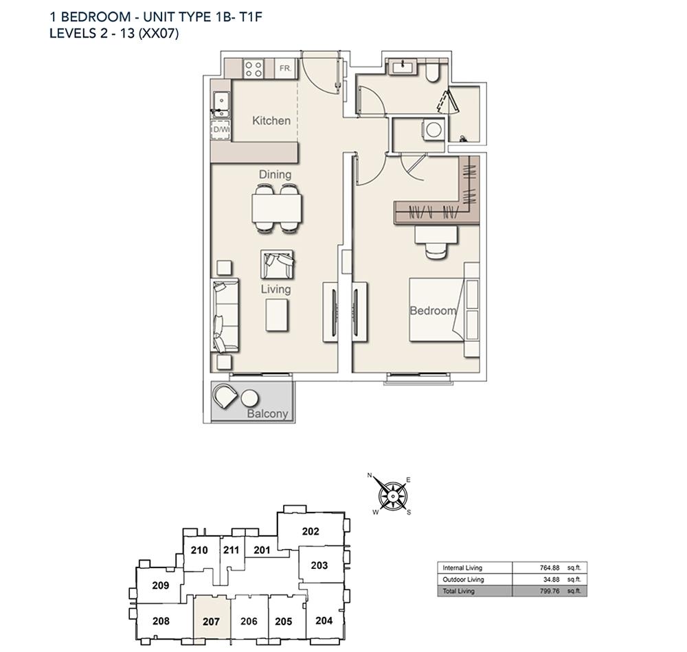 1 Bed-TY-1B-T1F-799.76-sqft