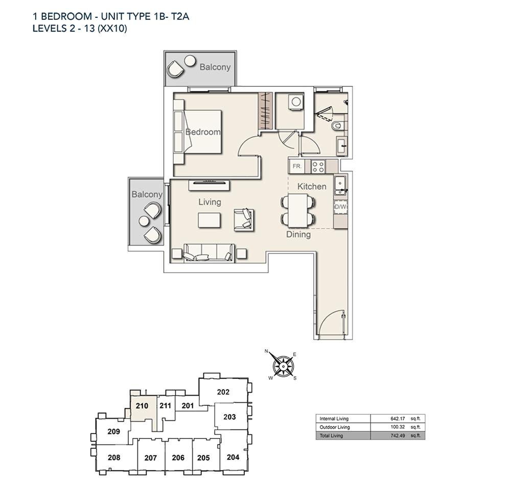 1 Bed-TY-1B-T2A-742.49-sqft