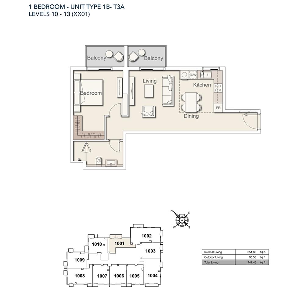 1 Bed-TY-1B-T3A-747.45-sqft