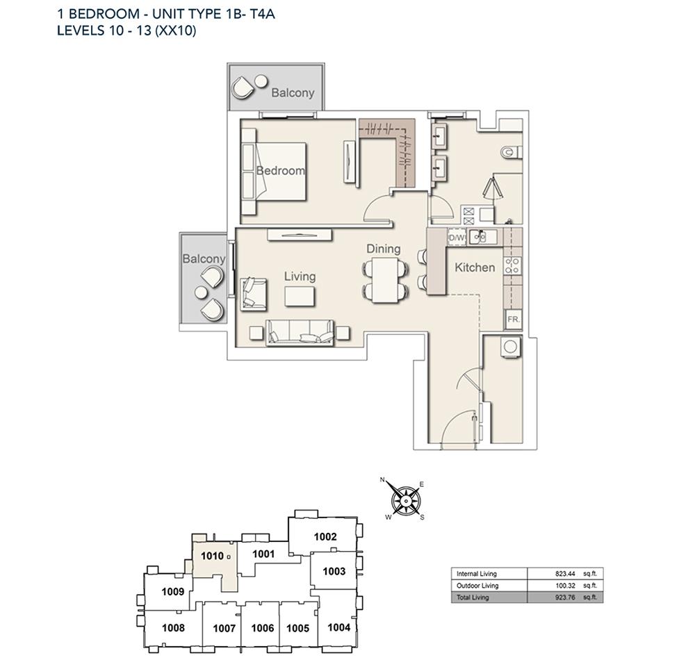 1 Bed-TY-1B-T4A-923.76-sqft