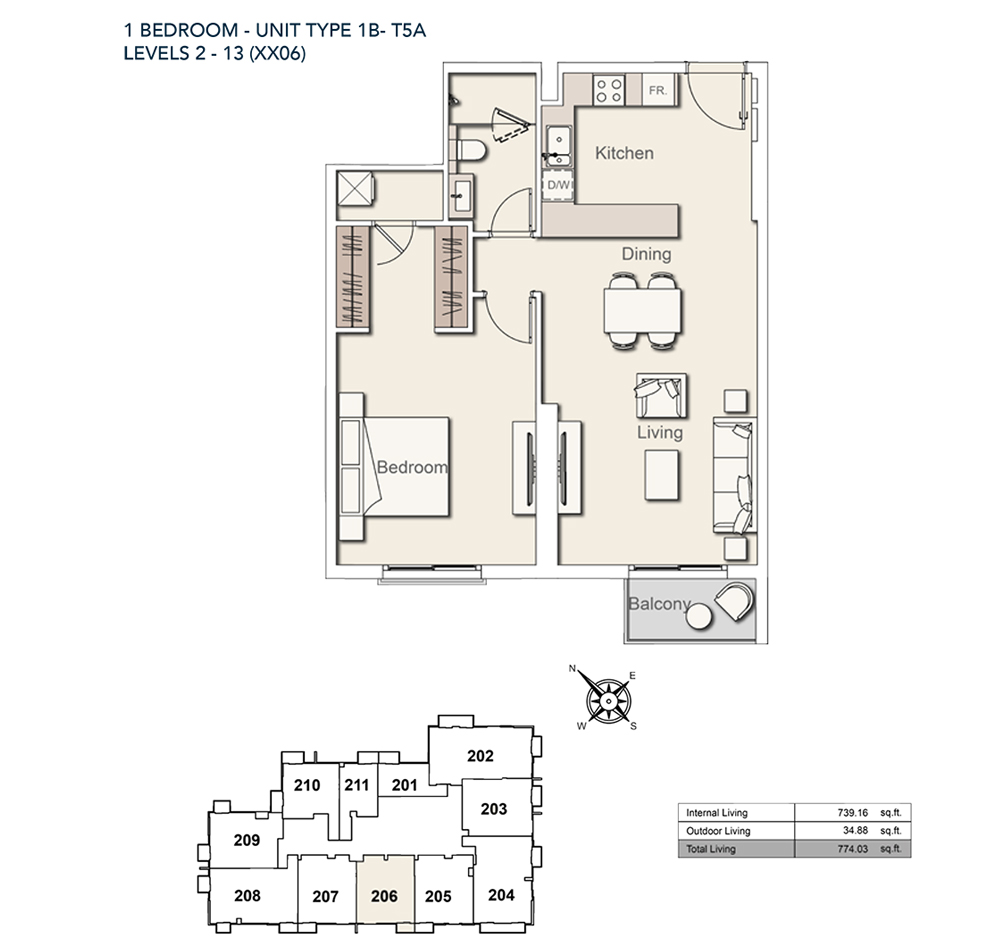 1 Bed-TY-1B-T5A-774.03-sqft