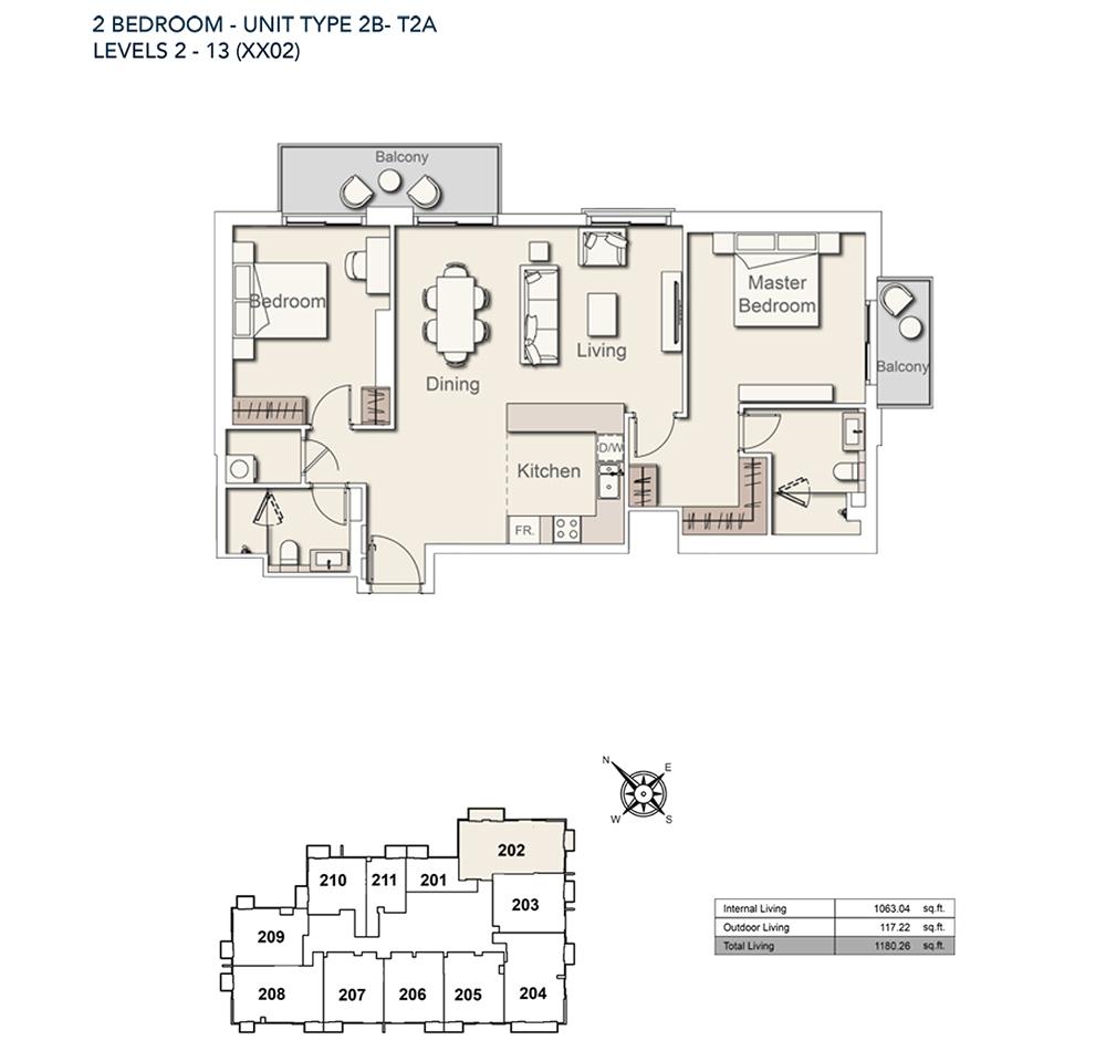 2 Bed-TY-2B-T2A-1180.26-sqft