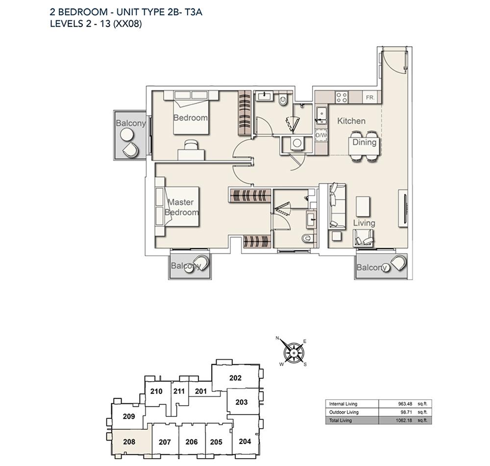 2 Bed-TY-2B-T3A-1062.18-sqft