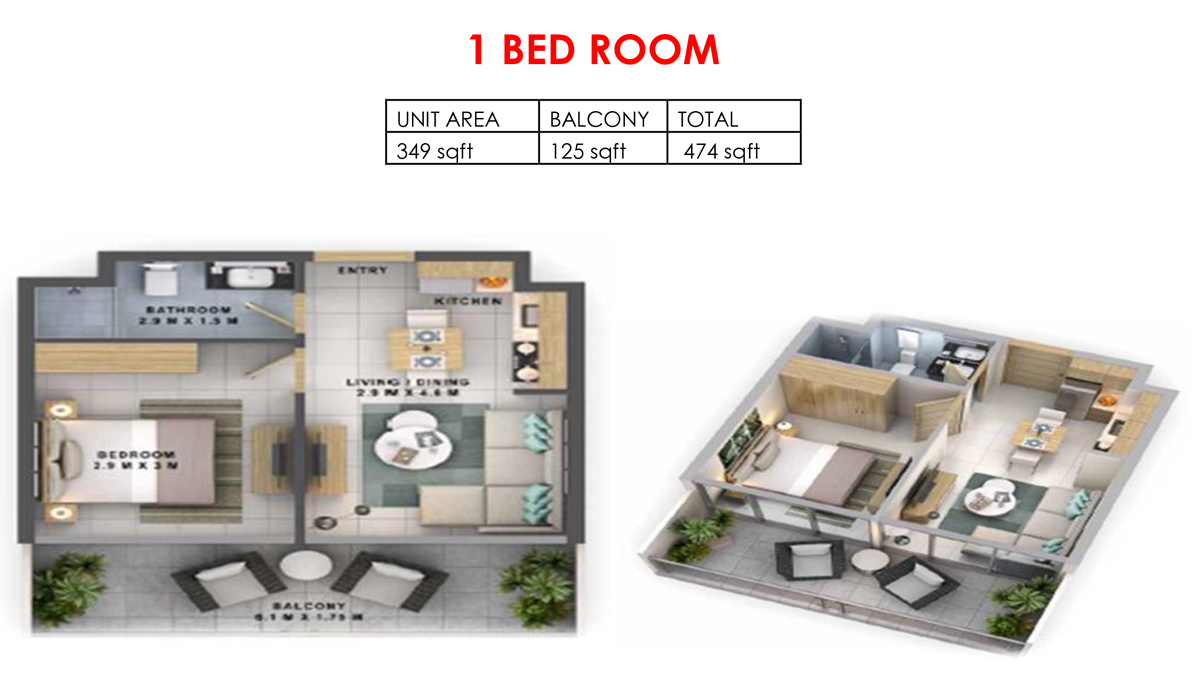 1 Bedroom Size 474 sqft