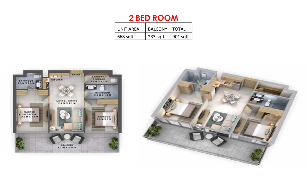 2 Bedroom  Size 901 sqft