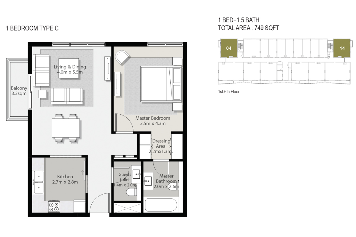 1 Bedroom Type C Size 749-sqft