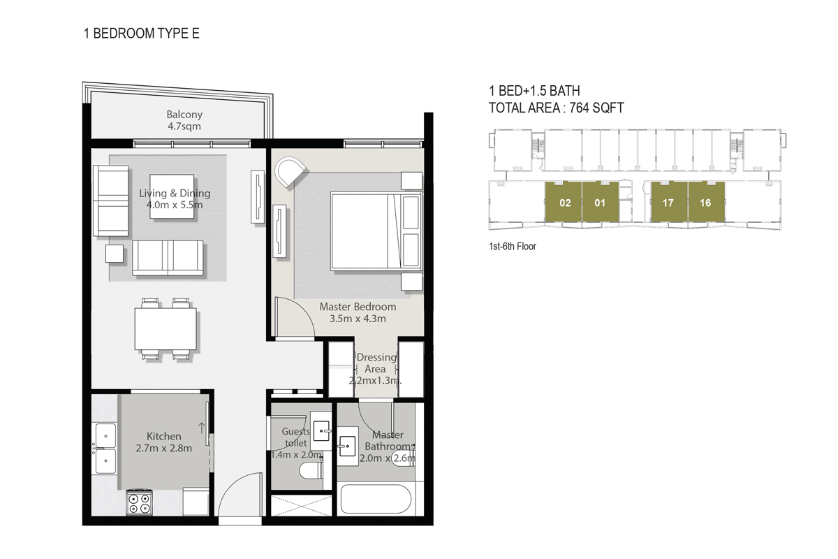 1 Bedroom  Type E SIze 764-sqft